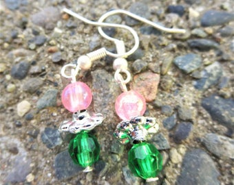 Pink/Green Stacked Bead Earrings