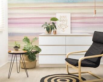 Watercolor wallpaper, Lines Wall Art, Watercolor print, Watercolor mural, Large wall paper, Removable wallpaper, Watercolor print - A290