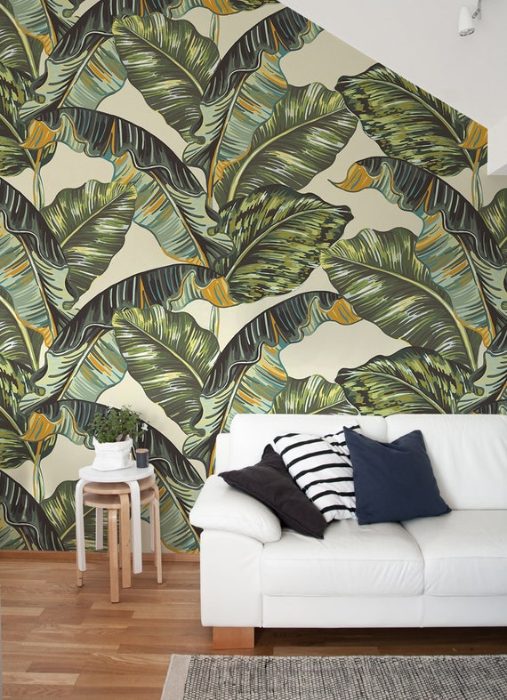Removable Wallpaper Banana Leaf Wallpaper Tropical Wallpaper Jungle Leaves Wallpaper Jungle Wall Decor Jungle Wallcovering A218
