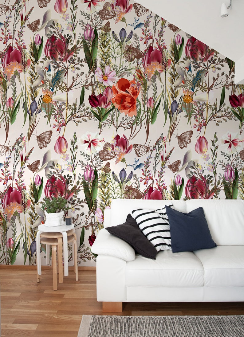 Pro Vance Vintage Wallpaper Temporary Wallpaper Floral Etsy