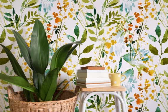 Boho Floral Removable Wallpaper Watercolor Leaves Botanical Temporary Wallpaper Spring Pattern Wall Paper Removable Wallpaper A198
