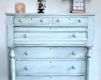 SOLD! Shabby Chic Dresser, Antique Dresser, Rustic Chest of Drawers, Distressed Dresser, Empire Dresser Country Cottage Dresser, Free NYC De