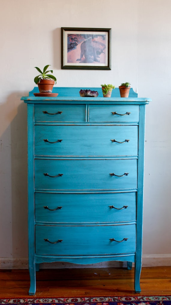 SOLD! Shabby Chic Dresser, Antique Highboy, Vintage Dresser, Turquoise  Dresser, Antique Distressed Chest of Drawers, Free NYC Delivery