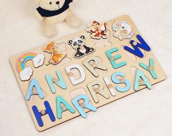 Small Unicorn Custom Name Puzzle  Personalized Unicorn Birthday Gift Mystery Puzzle  Baby Name Plywood White Pony Jigsaw 54-150 pieces