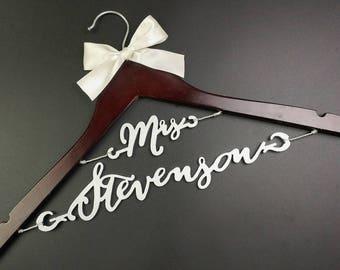 Bridal Shower Gift, Personalized Wedding Hanger, Bridal Hanger, Two Line Hanger, Shower Gift, Custom Bride Hanger Laser Cut for Bride MG005