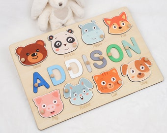 Custom Baby Puzzle Name, Name Puzzle, Personalized Baby Gift for 3 Years Old Girl with Name,  Nephew Gift for Kids Boy, Wooden Toddler Toy