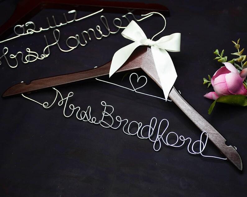 Wedding Bridal Shower Gift for Mother of the Bride Personalized Wedding Hanger Custom Bridal Hanger Bridesmaid Dress Hanger  2mm Font E
