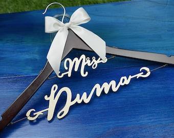 Personalized Hanger, Bridal Hanger with Wood Name, Personalized Wedding Hanger, Bridal Shower Gift, Custom Bride Hanger Laser Cut for Bride