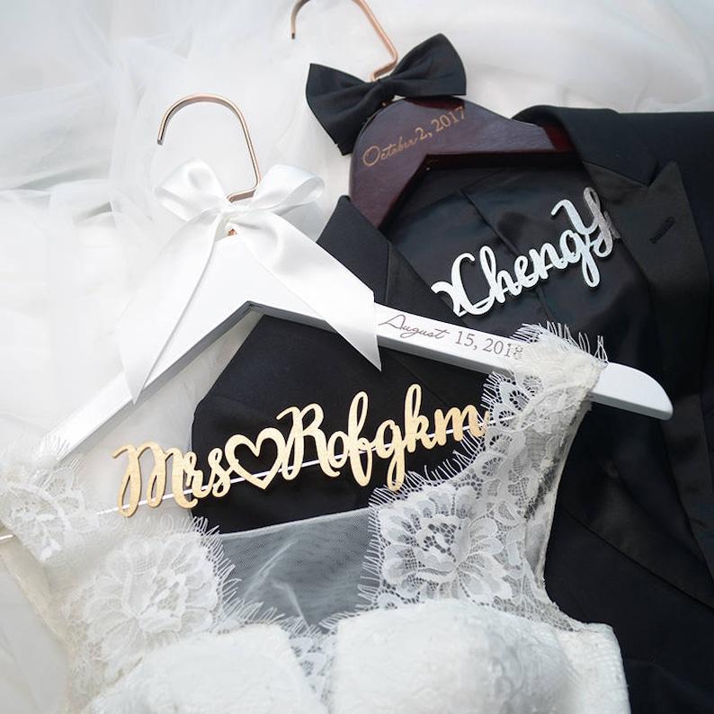 Bridal Hanger with Wood Name Bridal Shower Gift Personalized Wedding Hanger with Date Custom Bride Hanger Laser Cut Gift for Bride Groom