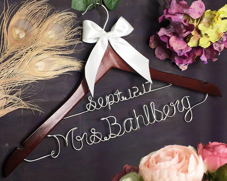 Gift Idea Personalized Wedding Hanger Gift for Her | Wedding Dress Bridal Shower Gift Future Mrs Bride to Be Gift Bridal Hanger