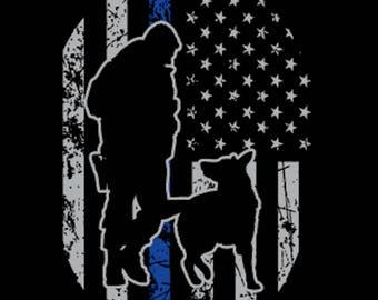 Police K-9 Thin Blue Line USA Flag Sticker Decal (Oval)
