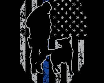 Police K-9 Thin Blue Line USA Flag Sticker Decal (Shield)