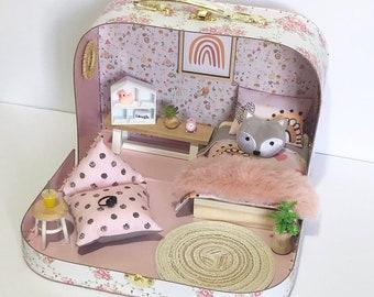 Dollhouse Decor Modern Dollhouse Maileg Chair Mustard Scalloped Dollhouse Beanbag Chair Bunny 1:12 Scale Sofa Bed