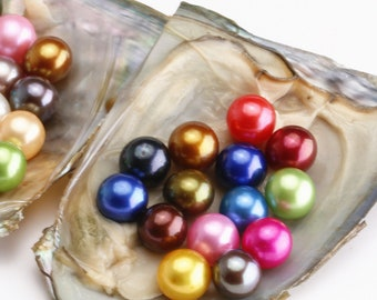 Natural Pearl Oysters Olive Color Pearl PB330 Oysters with 6-9mm Small Rice Drop Pearl Inside