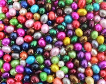 20PCS A Grade 8.5-11mm Rainbow Mixed Colored Edison Loose Pearls