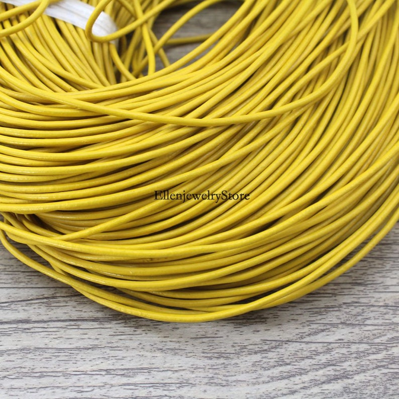 Round Real Leather Color Coated Beading String Bracelet Necklace Making Supplies 3Yards 2mm Charming Yellow Genuine Leather Cords