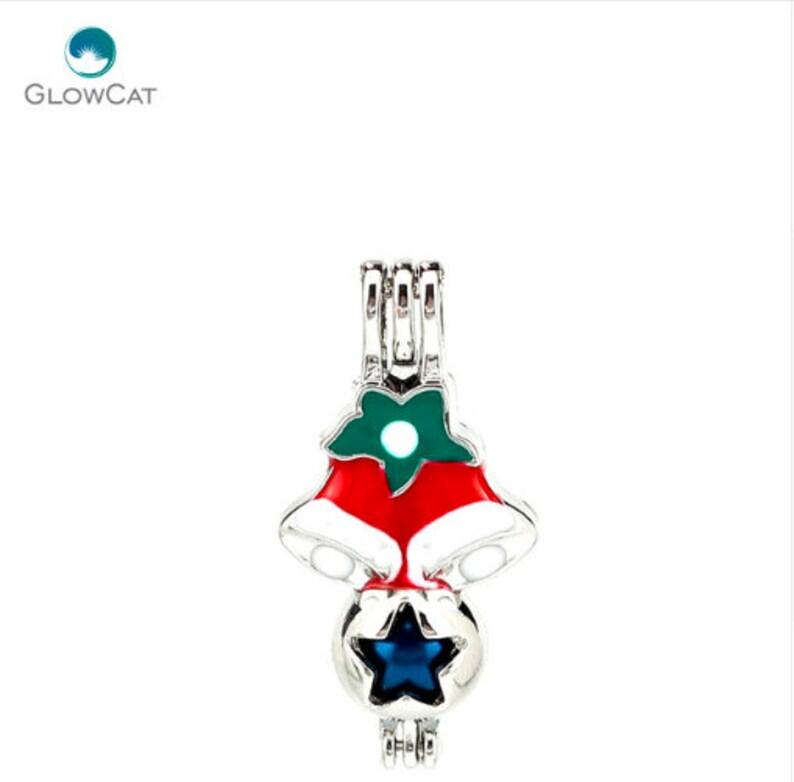 1 PCS Colorful Christmas Cage Pendant,Locket Charms,Colorful Christmas Pearl Cage White and Red Boots Socks Cage Christmas Beautiful Gifts,