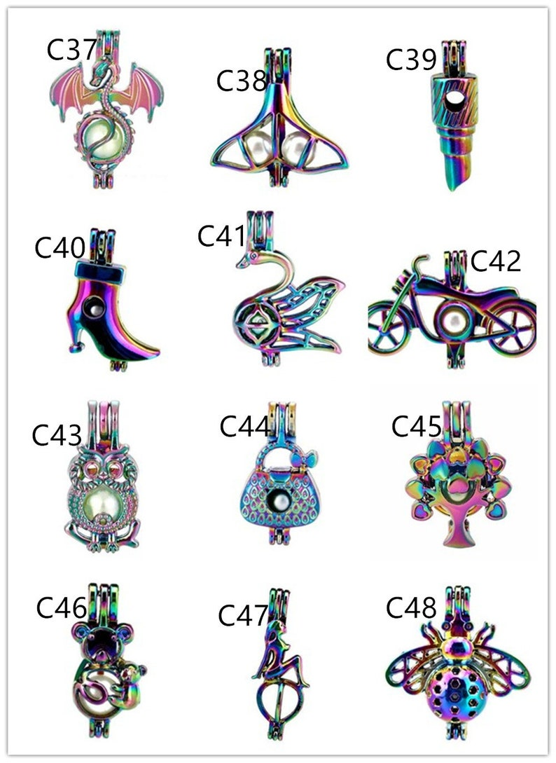 Essential Oil Diffuser Jewelry Necklace Making Wholesale Charms Akoya Oyster Cage Pendant 1PCS Choose Style Mixed Rainbow Color Pearl Cage