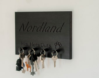 Home Sweet Home Key Rack, Personalized Key Ring Holder, His Hers Key Hanger,  Custom State Key Hanger, Housewarming Gift, decor  wall