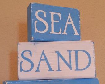 Beach Decor - Wooden Blocks - Sea, Sand, Coast