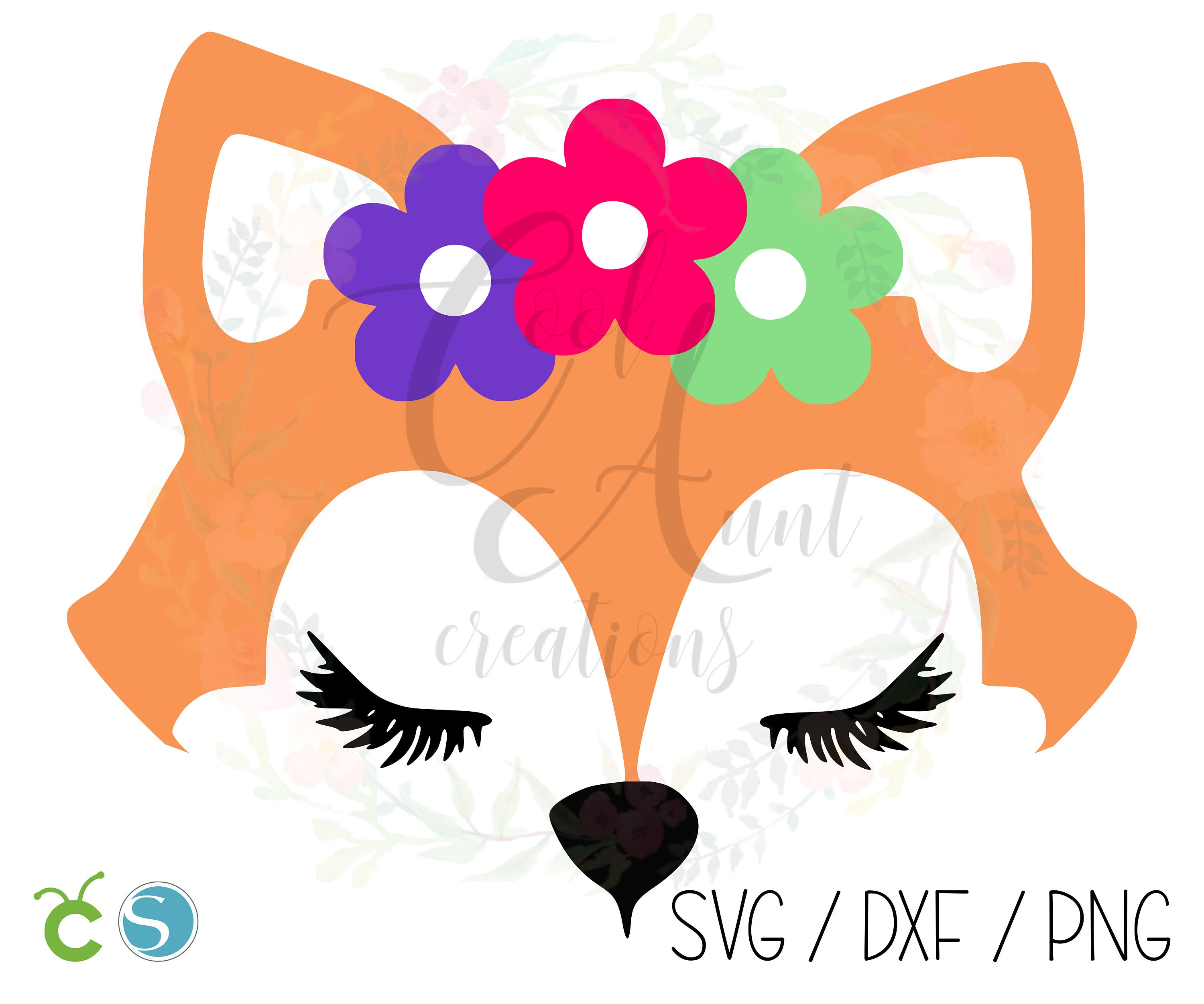 Fox With Flower Crown Svg Dxf Png Digital Download Etsy