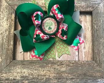 St Patricks hair bow, st patricks day hair bow, hairbow, bow