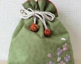 No.17 Fabric Jewelry Pouch, Makeup Pouch, Drawstring Bag, Japanese fabric, kinchaku bag
