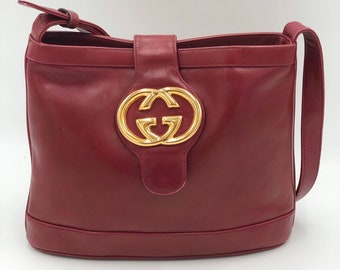 385ada9df81 Maroon Red Gucci Blondie Vintage VTG 70 s Gorgeously Restored Leather  Bucket Bag Handbag GG