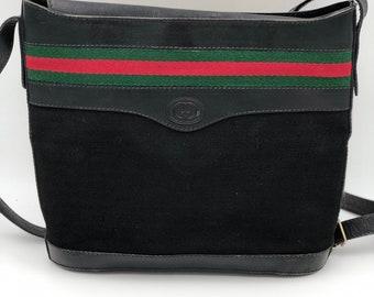 65baf529847 Vintage Gucci 80 s Supreme Micro GG Monogram Canvas and Black Leather  Webbing Bucket Bag