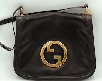 5aa502018ab Dark Brown Leather 70 s Vintage GUCCI BLONDIE Handbag Shoulder Bag Gold GG