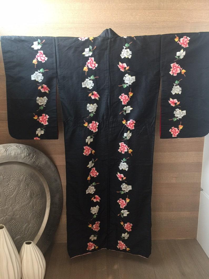 VTG VINTAGE Japanese Kimono Black Pink Floral Raw Silk Hand Dyed and Sewn