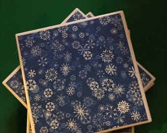 Coasters, Snowflakecoasters, blue coasters, ceramic tile coasters, ceramic coastes, tile coastes, christmas coaste, white elephant , gift