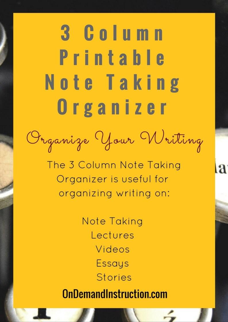 3-Column Notetaking Graphic Organizer image 0