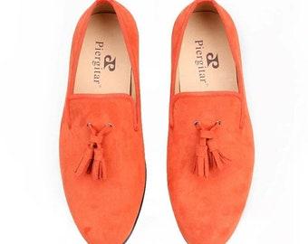 Men Orange Velvet Loafers