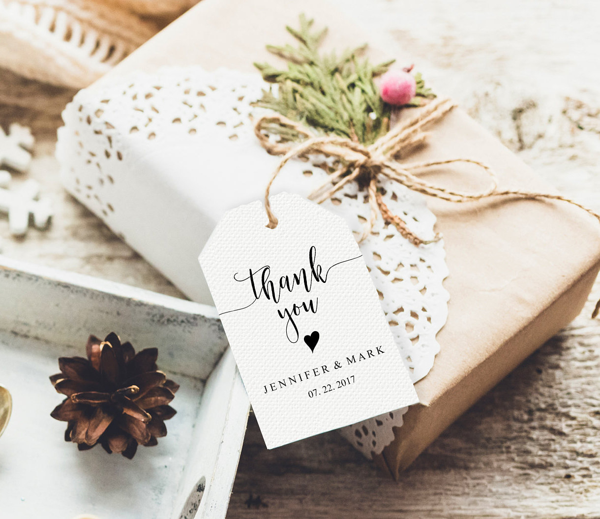 Wedding Thank You Tags Wedding Favor Tags Rustic Thank You Etsy