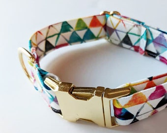 Geo Rainbow dog collar
