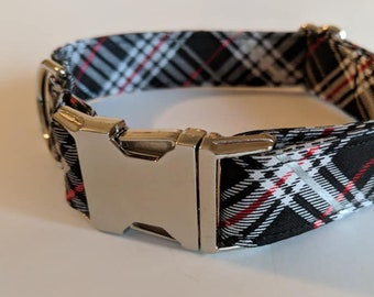 Festive Plaid dog collar