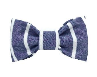 Denim Stripes Bow Tie