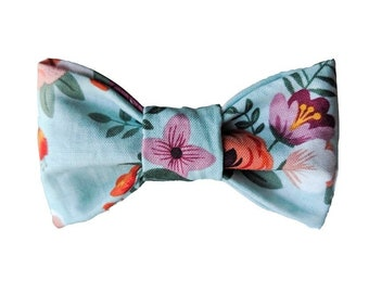 Pink Floral on Light Blue Dog Bow Tie