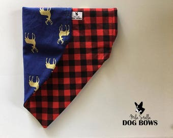 Buffalo Plaid & Reindeer - Reversible Bandana