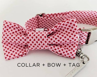 Valentine's Day dog dog gift - Valentine's Day sale - Valentine's day package - Valentine's day collar - Valentine's day bow - dog tag
