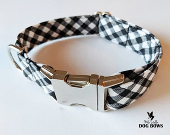 Black and White Gingham dog collar