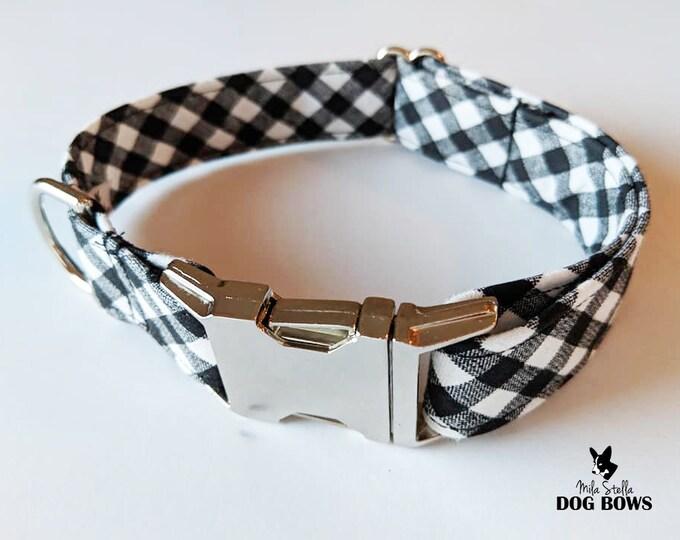 Black and White Gingham dog collar