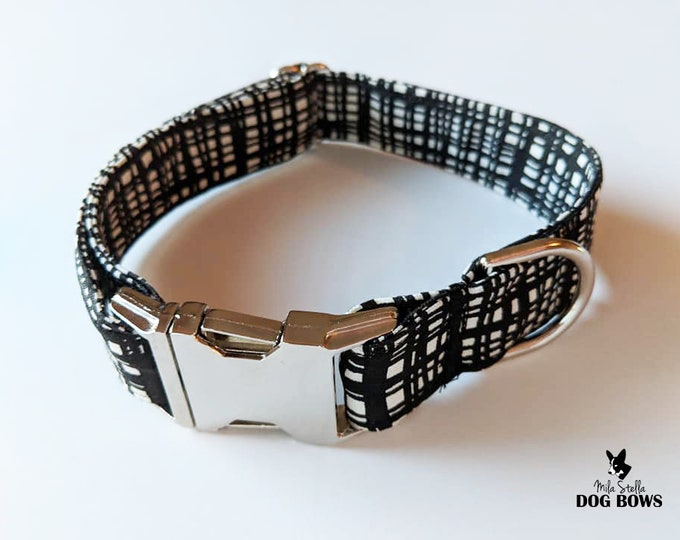 Black and White Lines dog collar