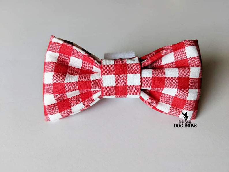 Red gingham dog bow red and white plaid dog bow summer dog bow tie spring dog bowtie Picnic bow tie for dogs