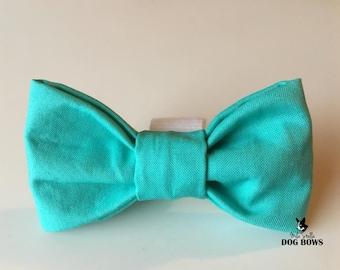 Solid Spring Blue Dog Bow Tie - Light Blue dog bowtie - Blue dog bow