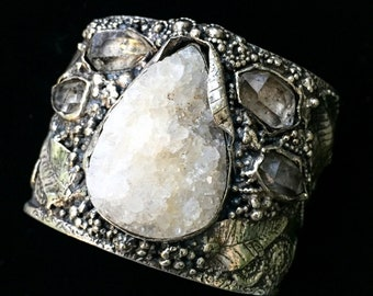 Raw, crystals cuff, Brazilian Druzy & Herkimer Diamond Sterling Silver Cuff