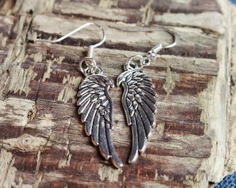 Winged Tibetan Silver earrings
