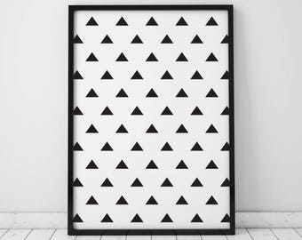 Large geometric art Vertical wall art Triangle poster art Abstract print Modern art Minimalist wall decor Printable art Digital download