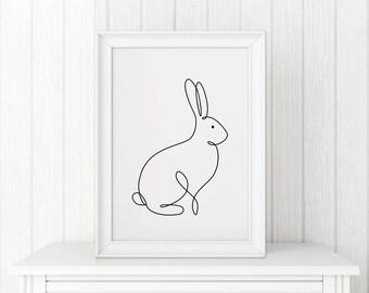 Rabbit Print Bunny Poster Contour Drawing Abstract Animal Modern Art Wall Decor Minimalist Scandinavian Nursery